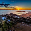 A magnificent sunset at Lighthouse Point Park in New Haven, Connecticut, USA.